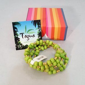 Tagua Nut Green With Gold Accent Wrap Bracelet